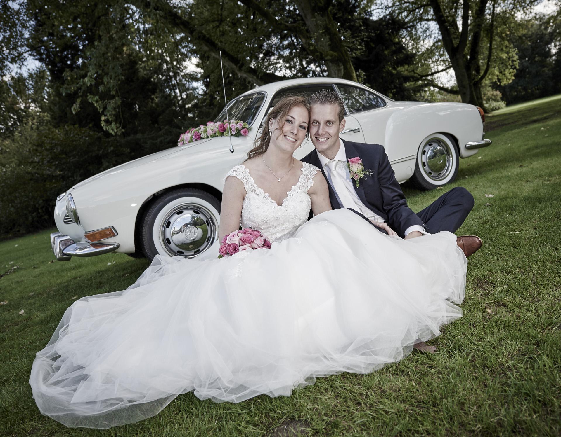 Huwelijk trouw auto foto ben professioneel fotograaf in